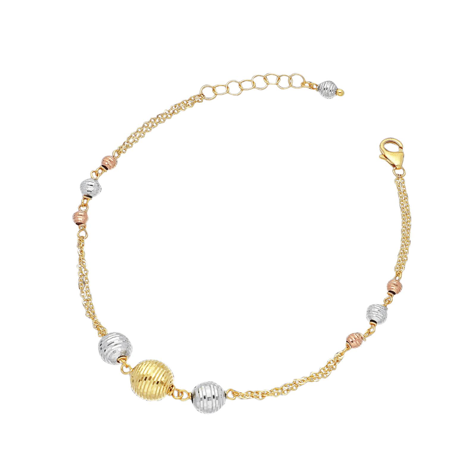 Bracelet 18k White Gold, Gold, Rose Gold with spheres