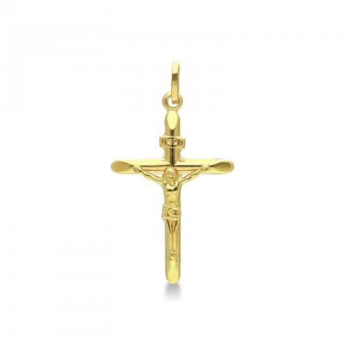 Ciondolo Croce in oro giallo 18kt con Cristo