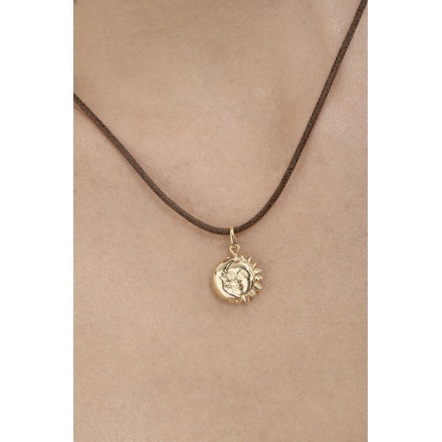 Pendant 18k Gold with Moon and Sun