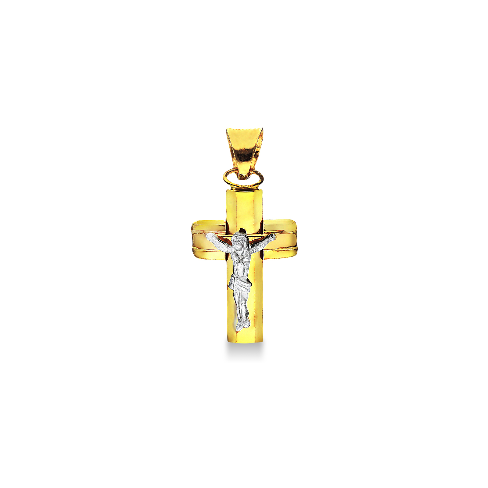 Pendant 18k Gold, White Gold with crucifix