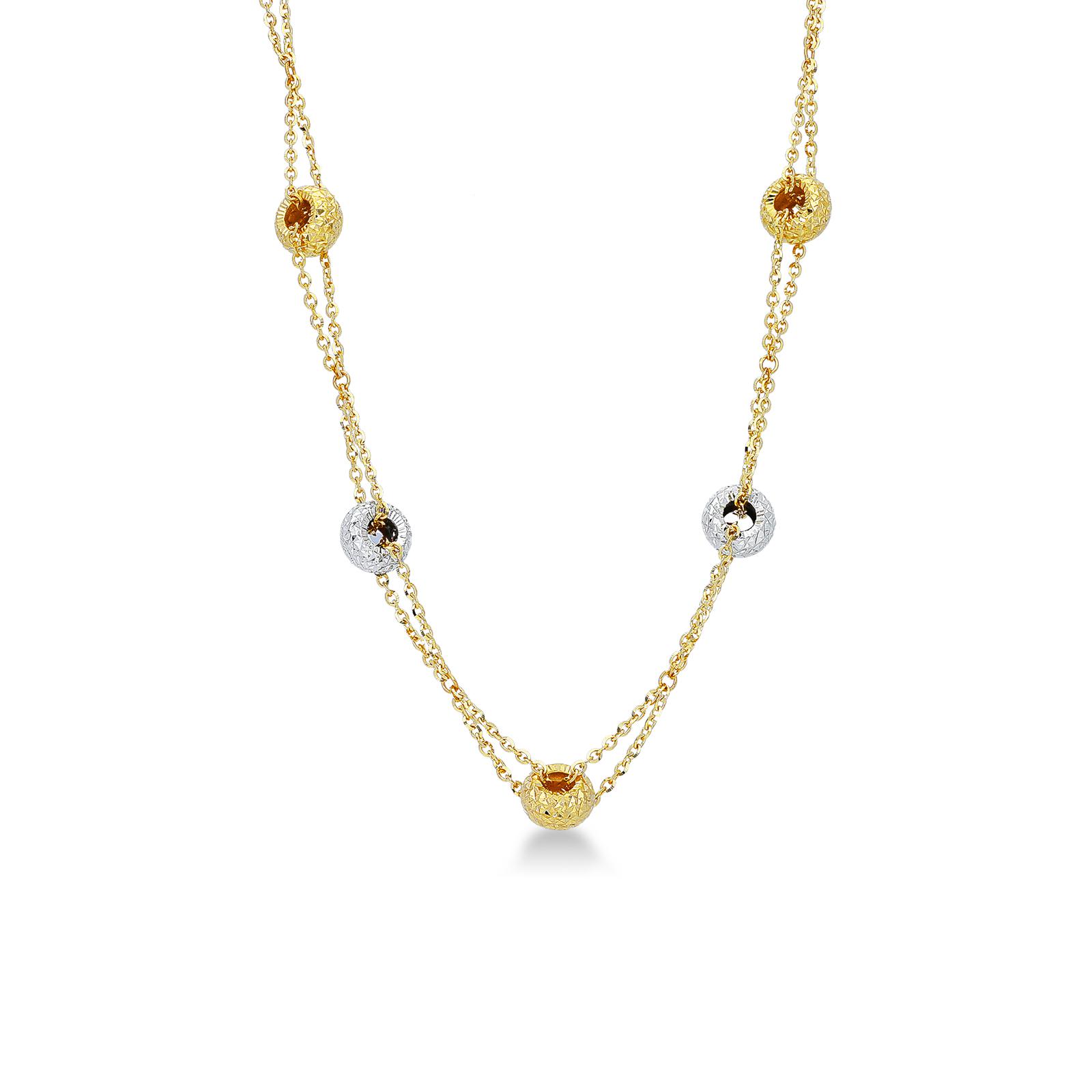 Catena con rotelle diamantate in oro giallo e oro bianco 18kt