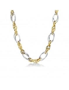 Collana in oro giallo e bianco 18kt maglia ad anelli fantasia.