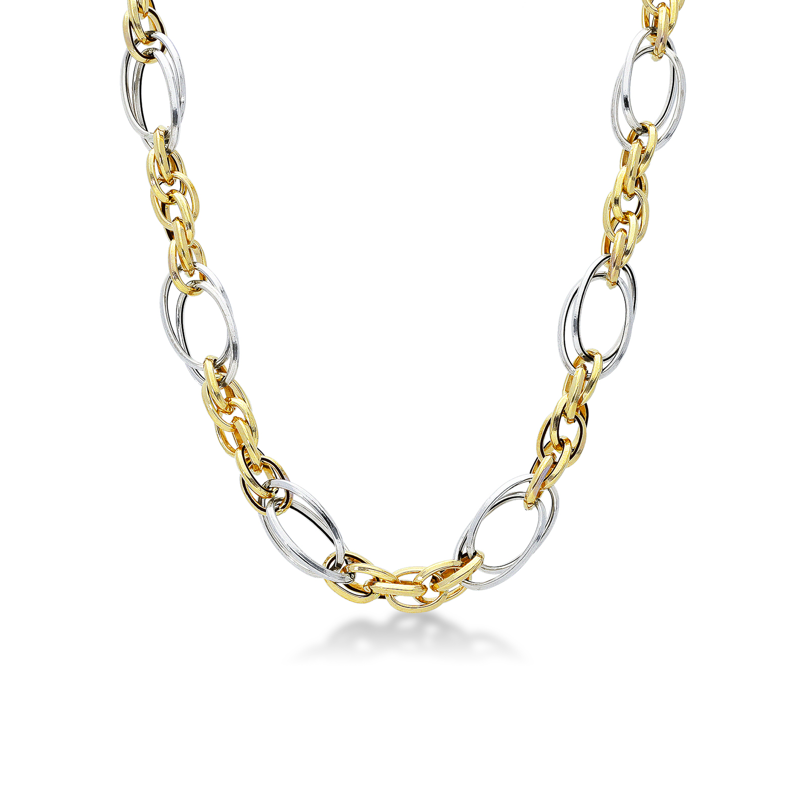Necklace 18k White Gold, Gold with ring knit