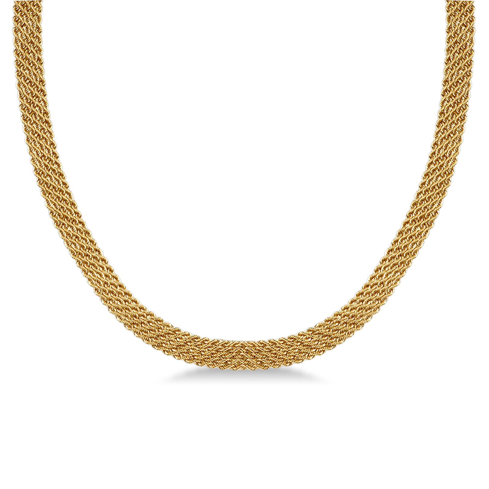 Collana a maglia intrecciata morbida in oro giallo 18kt.