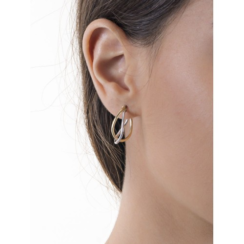 Earrings 18k White Gold, Gold with plots