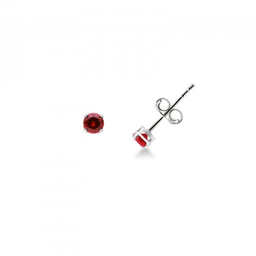 Earrings 18k White Gold with Red Zircon