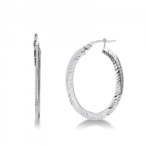 Earrings 18k White Gold with Ovals
