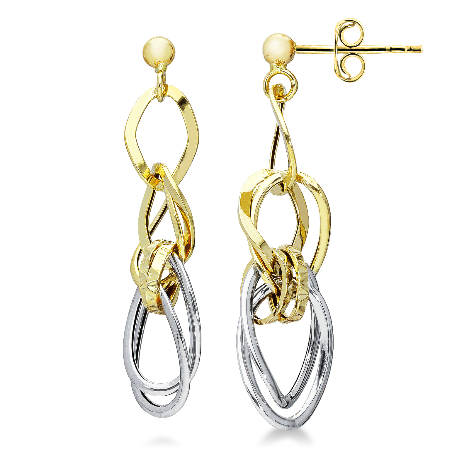 Earrings 18k White Gold, Gold with round elements