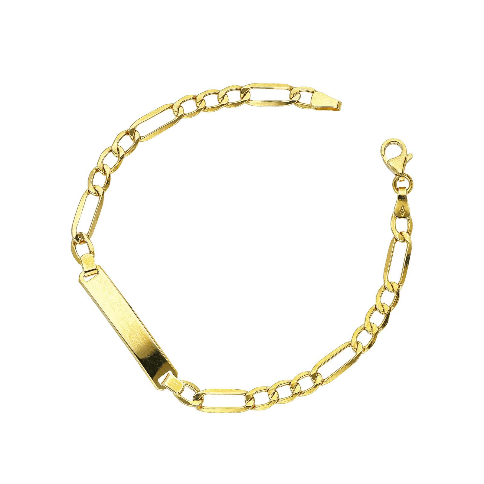 Bracciale in oro giallo 18kt con piastrina incidibile