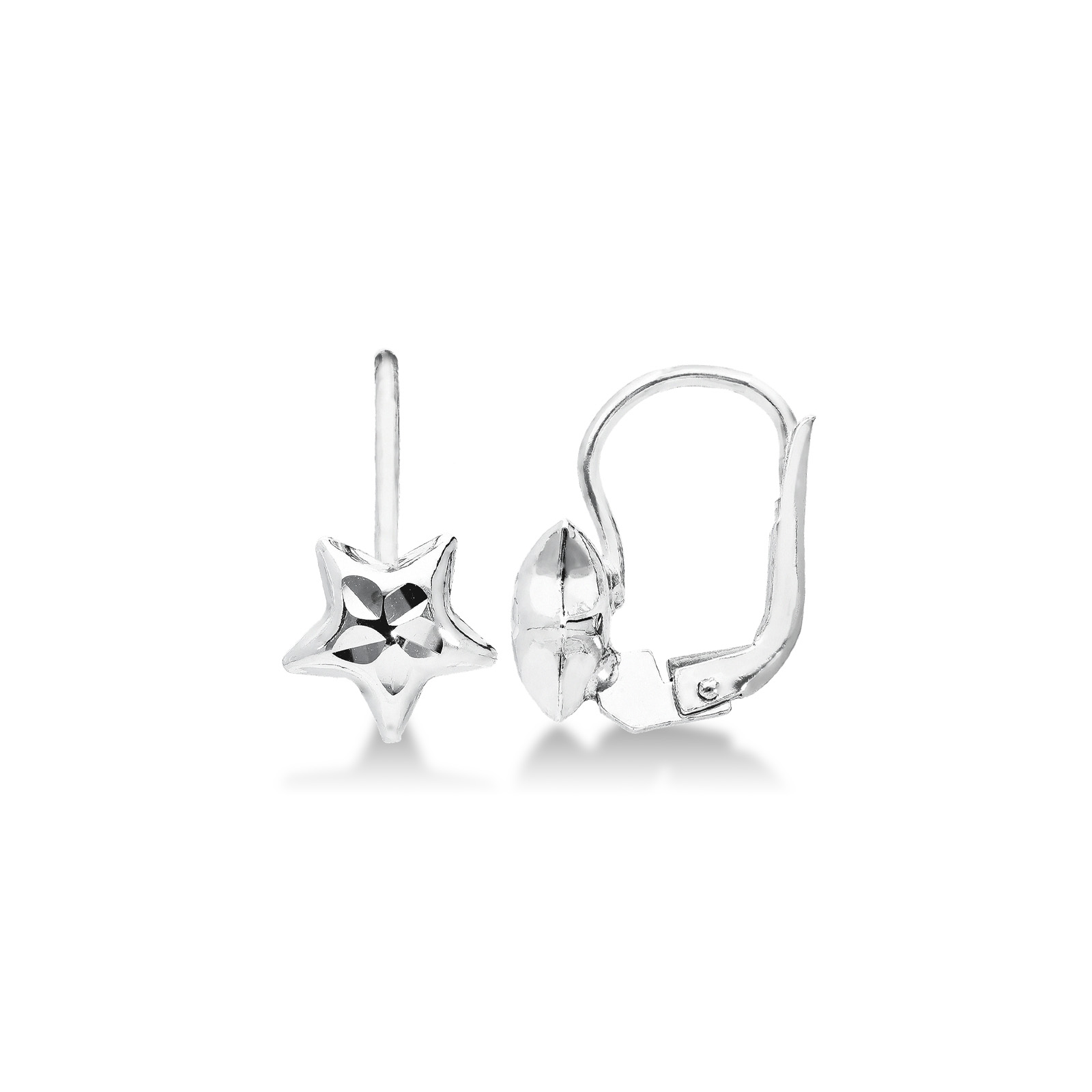 Earrings 18k White Gold with Star