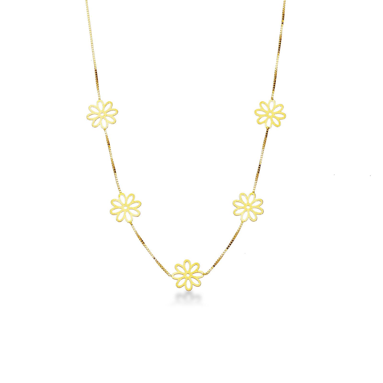 Collana in oro giallo 18k con motivo floreale.