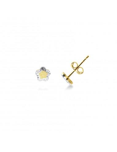 Earrings 18k White Gold, Gold with flower