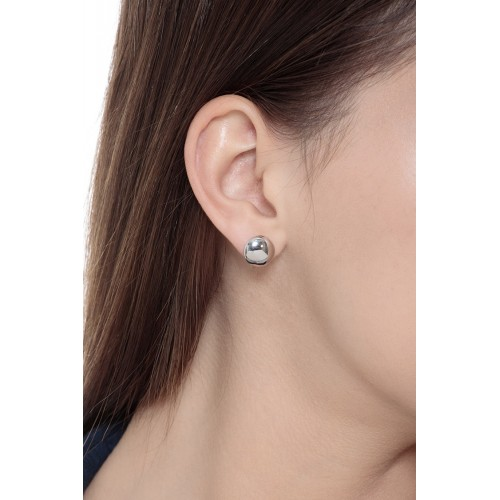 Earrings 18k White Gold with button