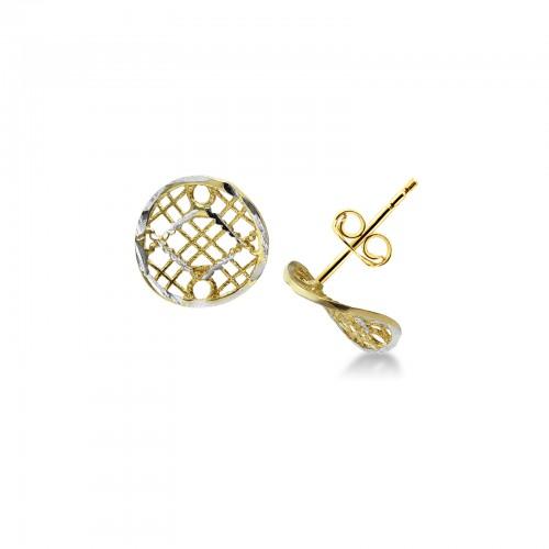 Earrings 18k White Gold, Gold with filigree