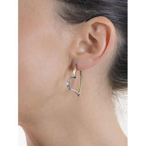 Earrings 18k White Gold, Gold with Hearts