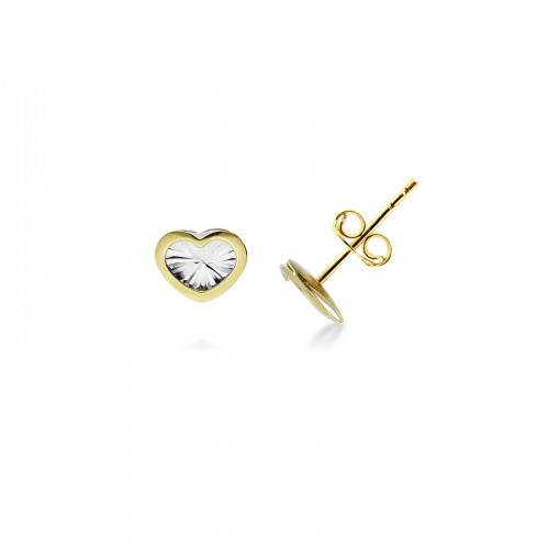 Earrings 18k White Gold, Gold with Heart