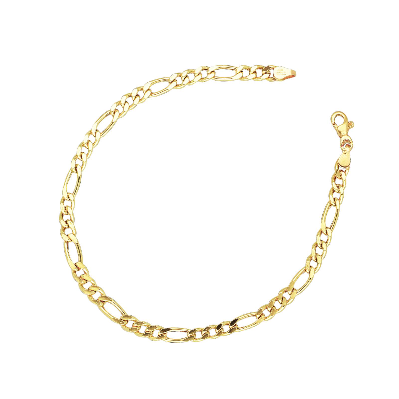 Bracciale in Oro Giallo 18kt a maglia groumette piatta alternata