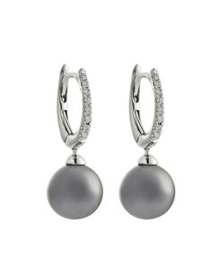 Earrings With Pearl 18k White Gold with Diamond, Pearl