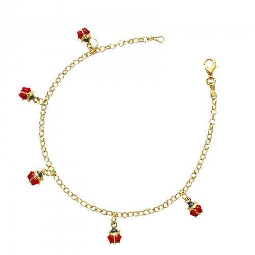 Bracelet 18k Gold with ladybugs