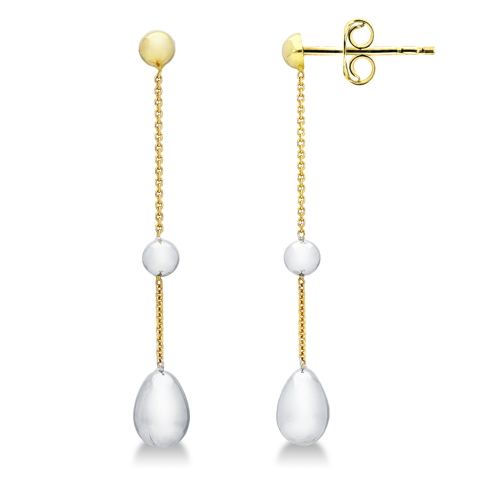 Earrings 18k White Gold, Gold with Pendant