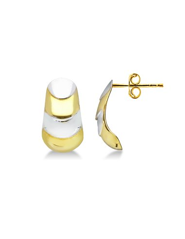Earrings 18k White Gold, Gold with wawe