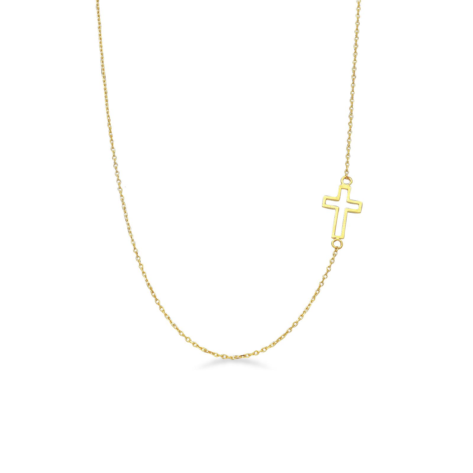Collana in oro giallo 18k con Croce.