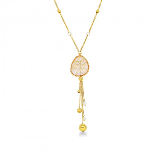 Necklace 18k Gold with Rose Quartz, Sintetic Pearl