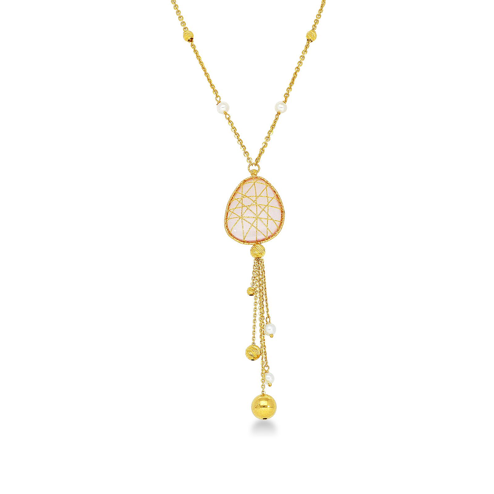 Collana con pendente in oro giallo 18k quarzo rosa e perle naturali coltivate.