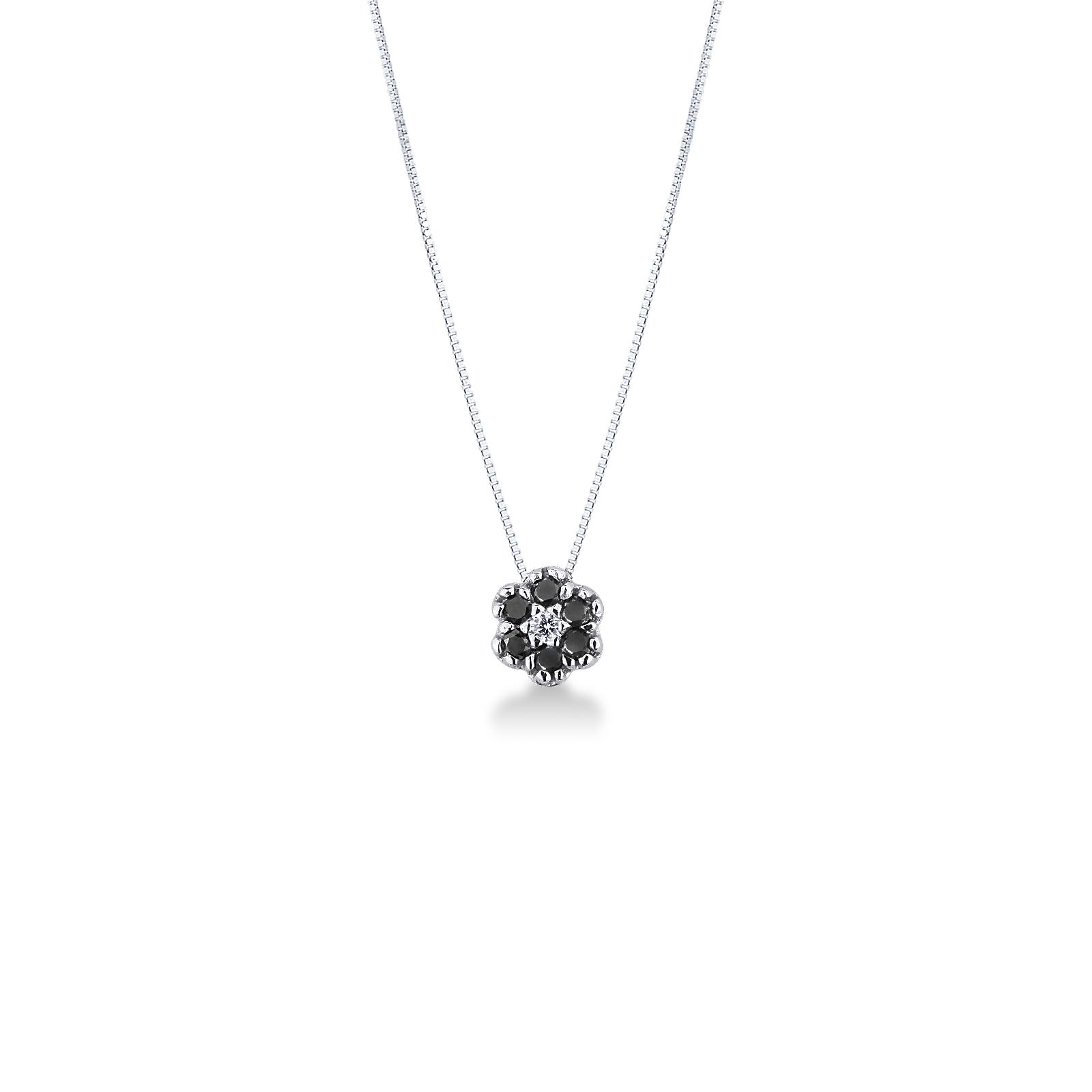 Collana in oro Bianco 18k con fiore in diamanti neri e bianchi