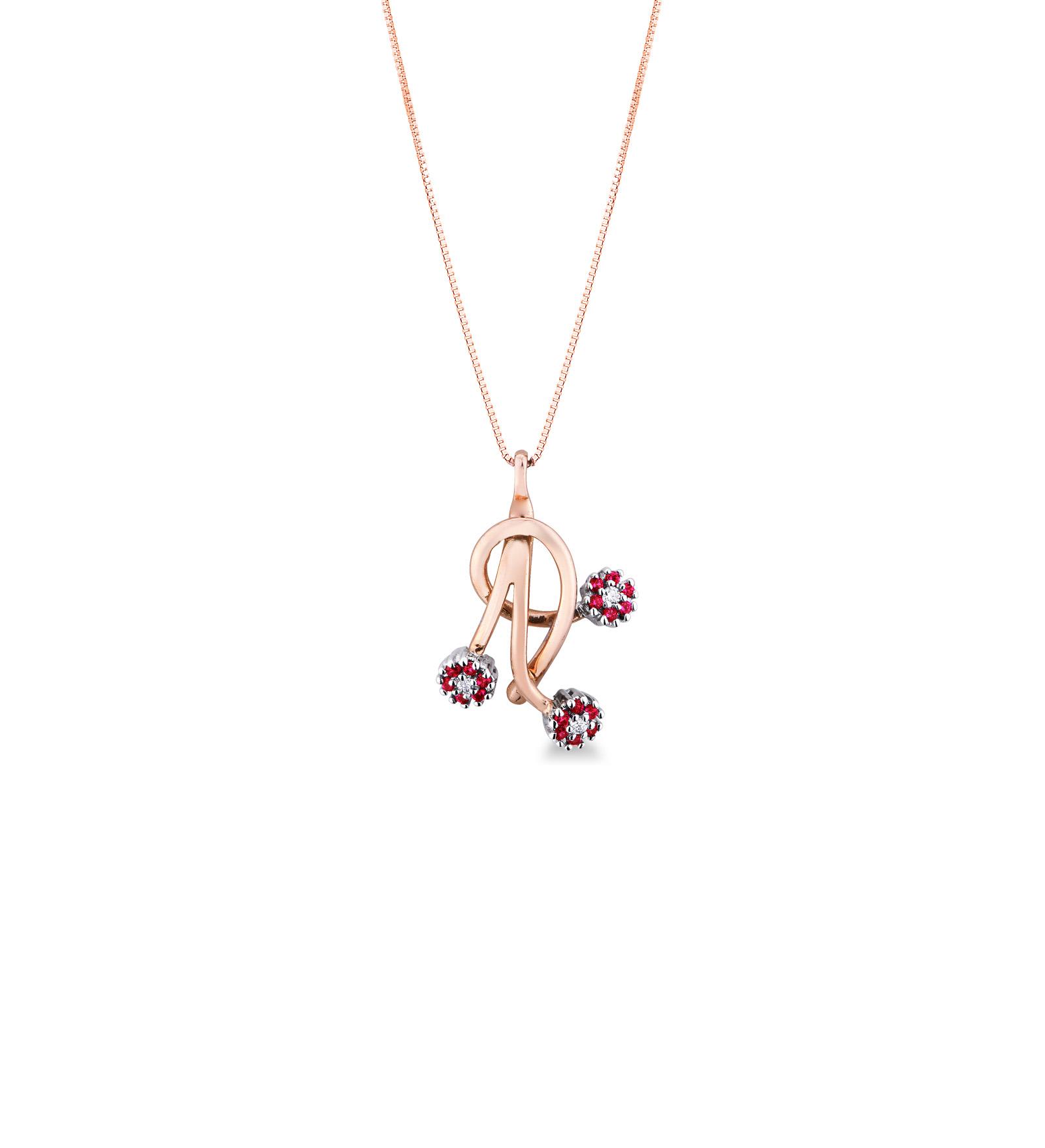Collana in Oro rosa 18k con Diamanti e Rubini