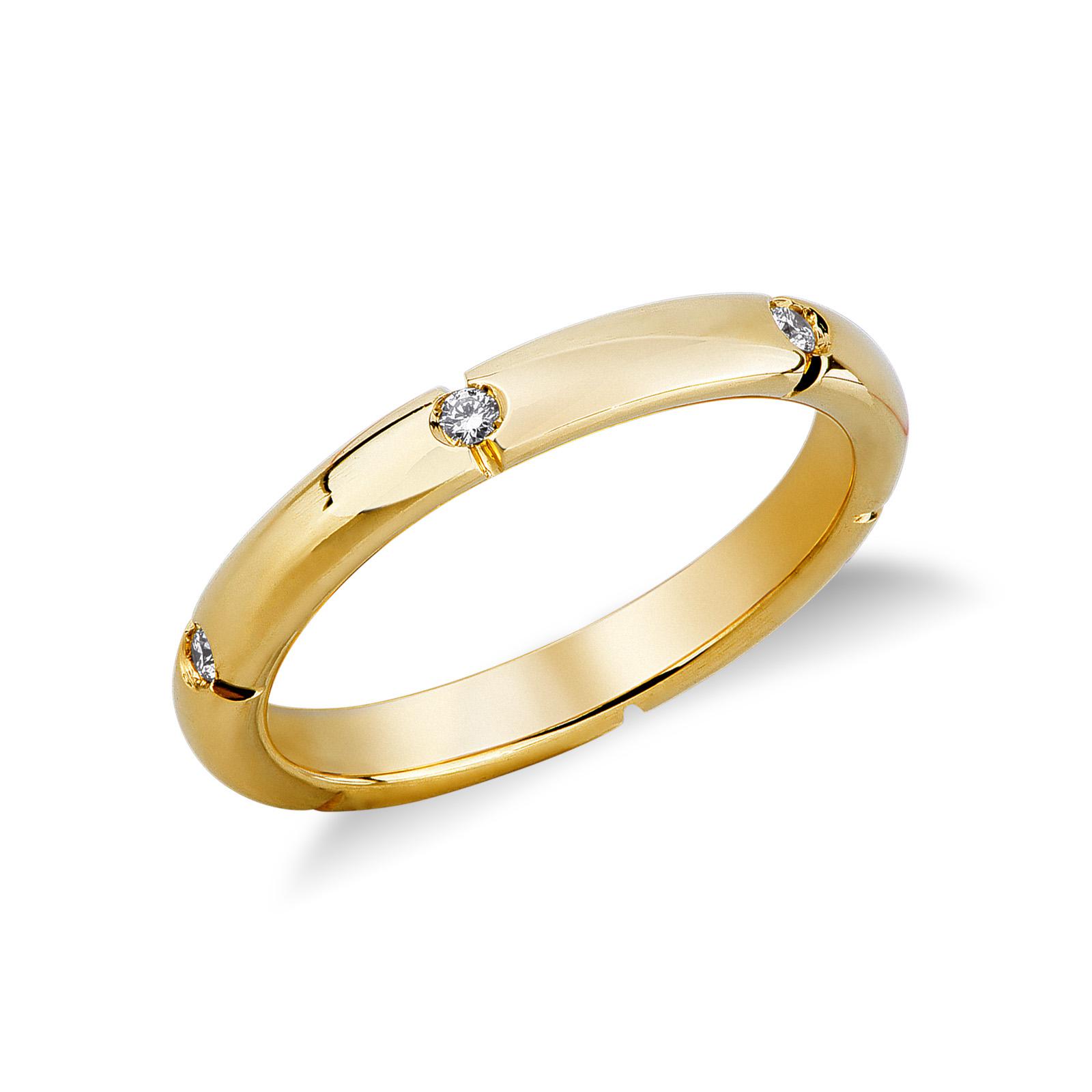 Fede Mod. Anniversario in oro giallo 18k con diamanti.