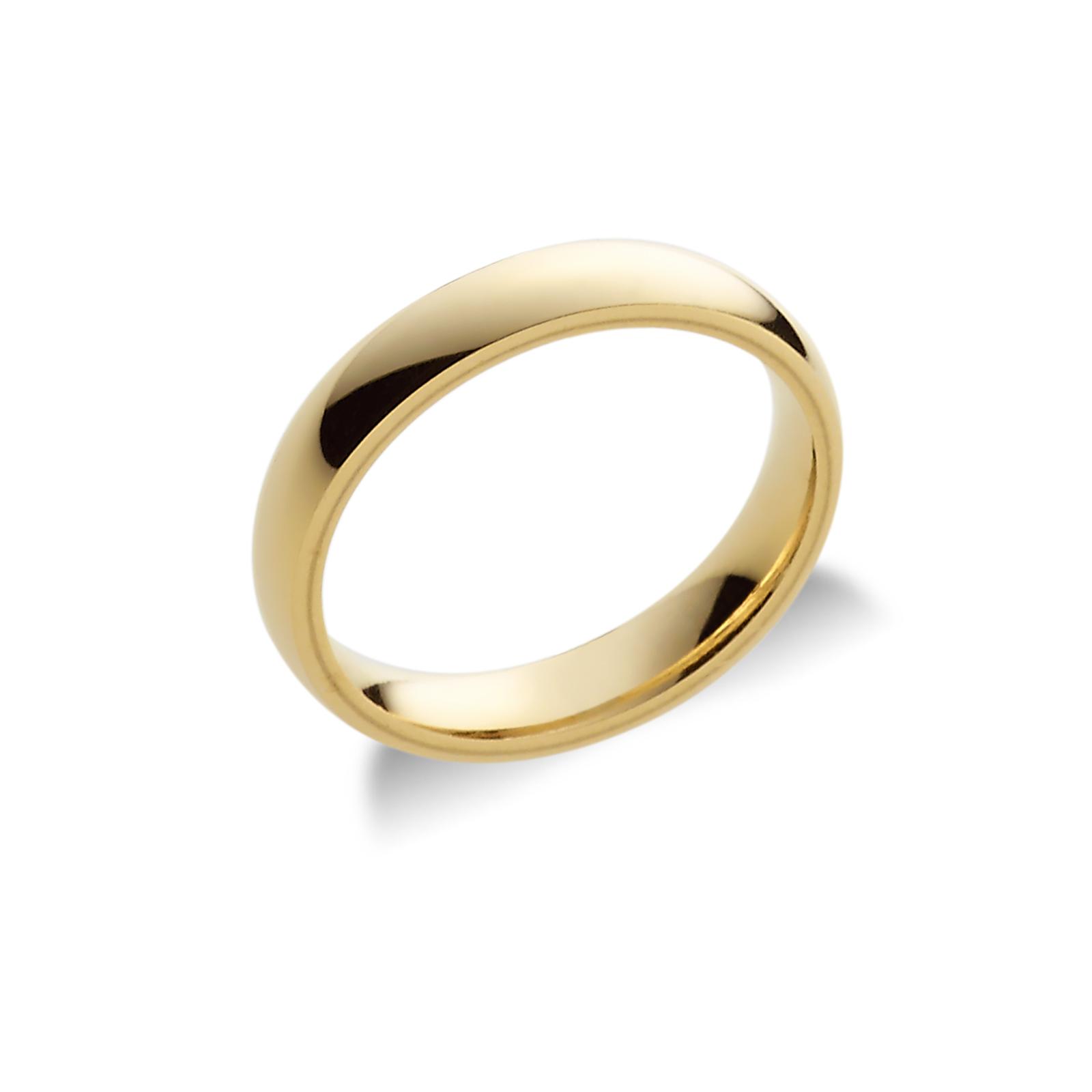 Fede Unoaerre comoda 4 mm in oro giallo 18k.
