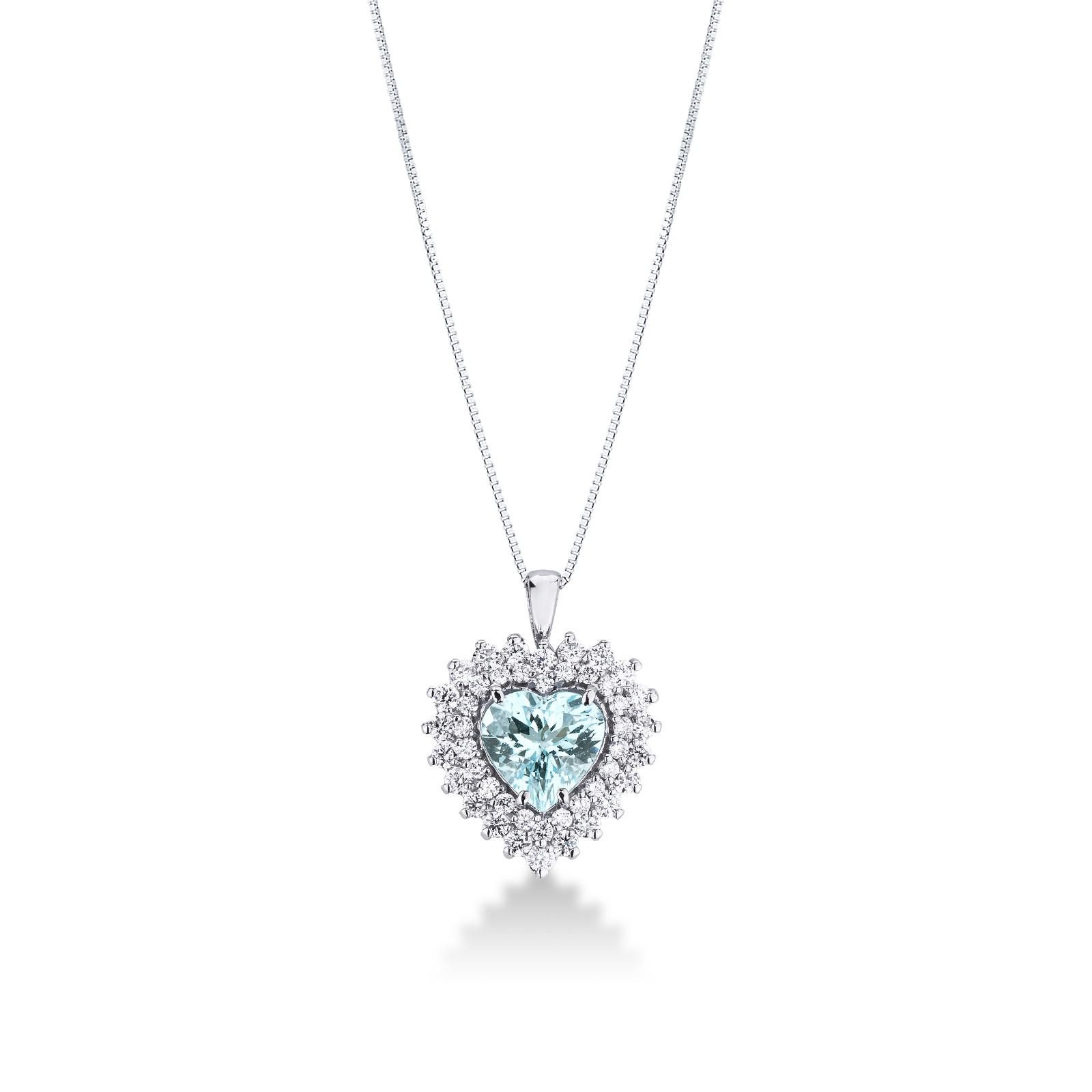 Collana in oro bianco 18k con acquamarina a cuore e diamanti