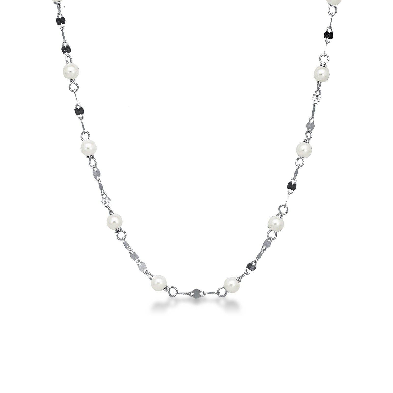 Necklace 18k White Gold with Sintetic Pearl