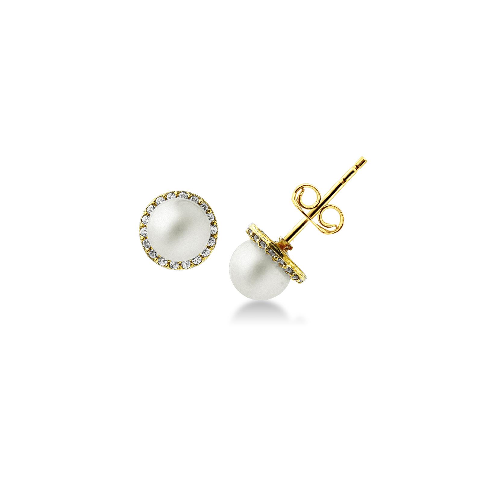 Earrings 18k Gold with Sintetic Pearl, Zircon