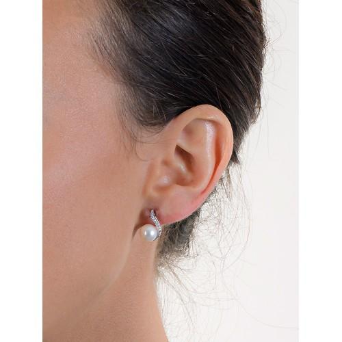 Earrings 18k White Gold with Sintetic Pearl, Zircon