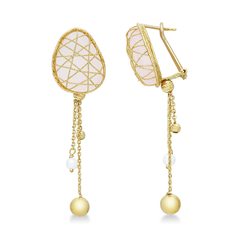 Orecchini in oro giallo 18k con quarzo rosa e perle.