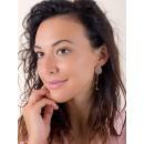 Earrings 18k Gold with Rose Quartz, Sintetic Pearl