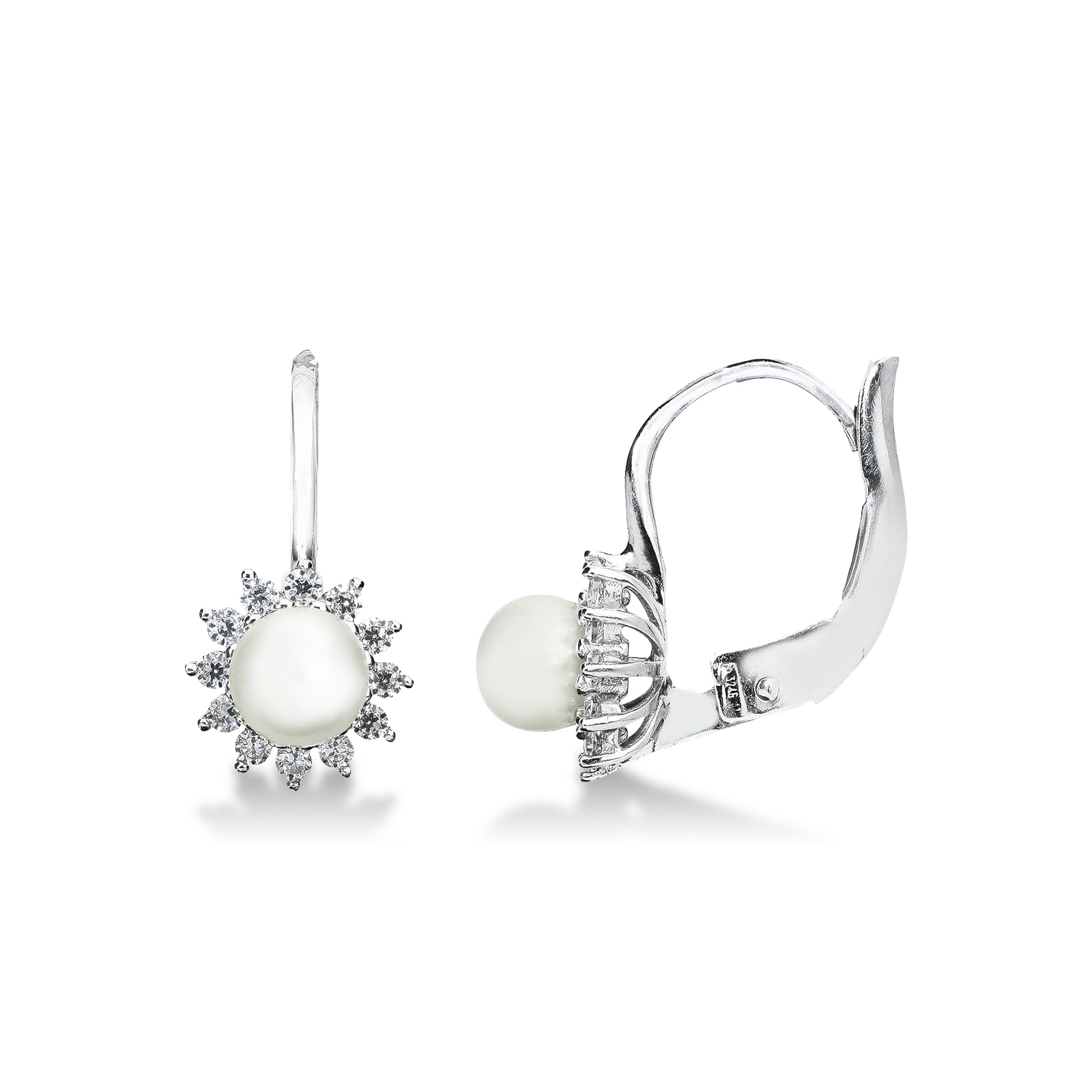 Orecchini in oro bianco 18k con perla e Zirconi.