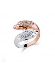 Anello contrariè Delfini in oro bianco e oro rosso 18k con  diamanti