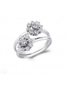 Anello contrariè in oro bianco 18k e diamanti