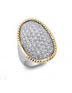 Anello pavè in Oro bianco, giallo 18k con Diamanti