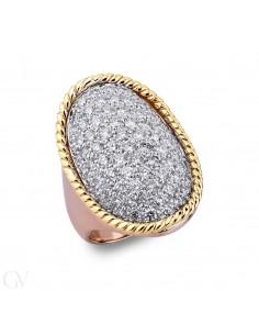 Anello pavè in Oro bianco, giallo e rosa 18k con Diamanti