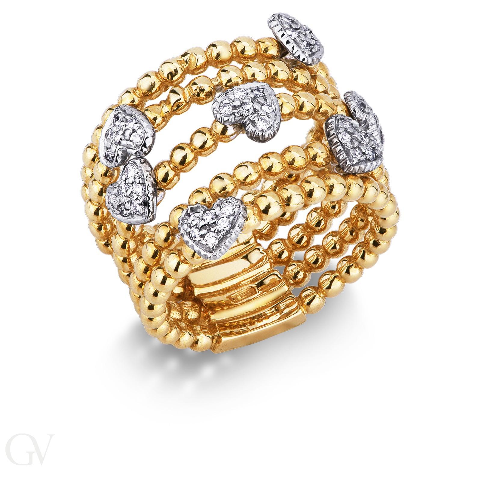 Anello in oro giallo e bianco 18k con cuori in diamanti