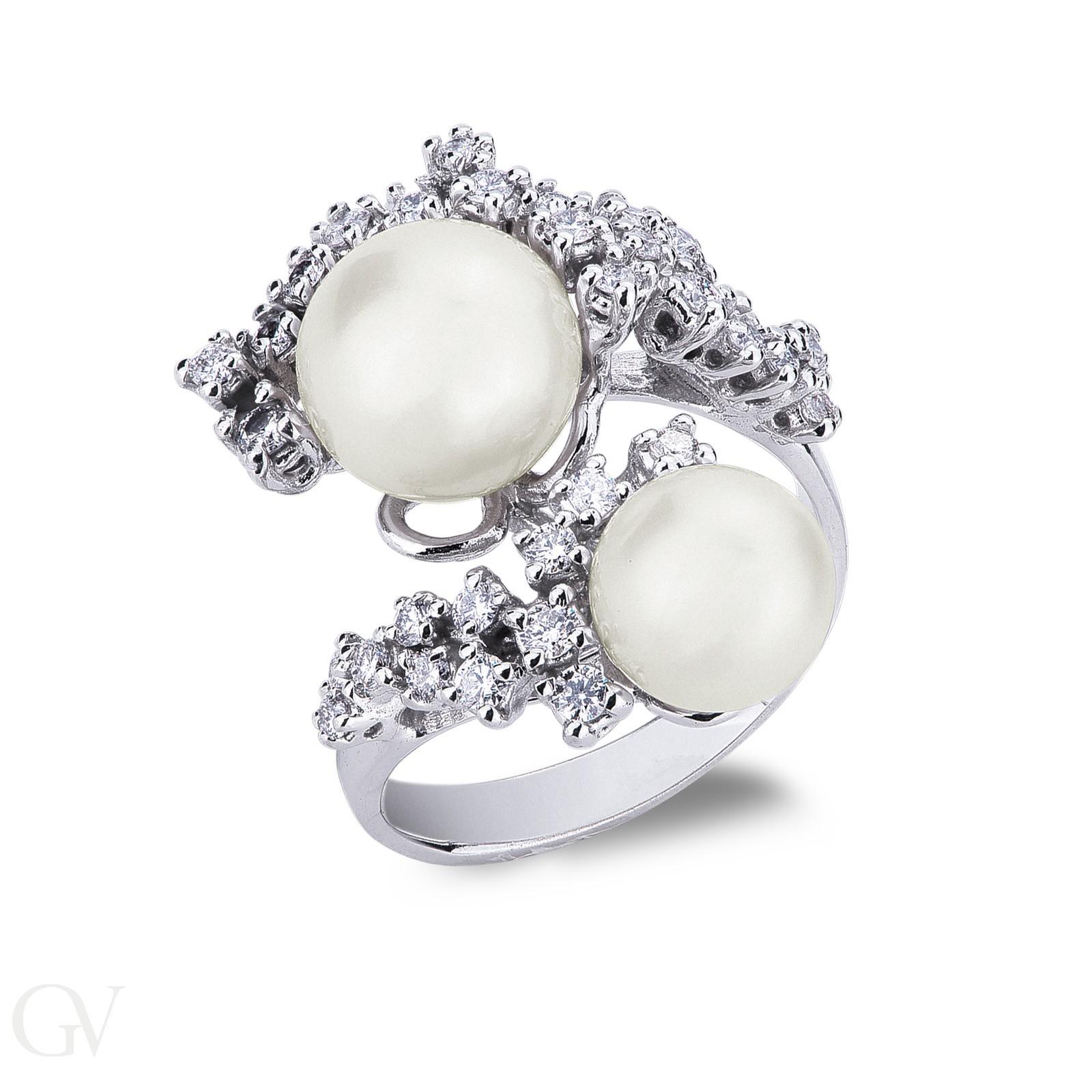 Anello in oro bianco 18k con Perle e diamanti