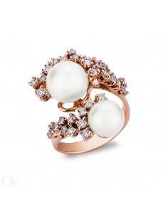 Anello in oro rosa 18k con Perle e diamanti
