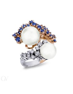 Anello in oro giallo 18k con Perle, diamanti a zaffiri blu