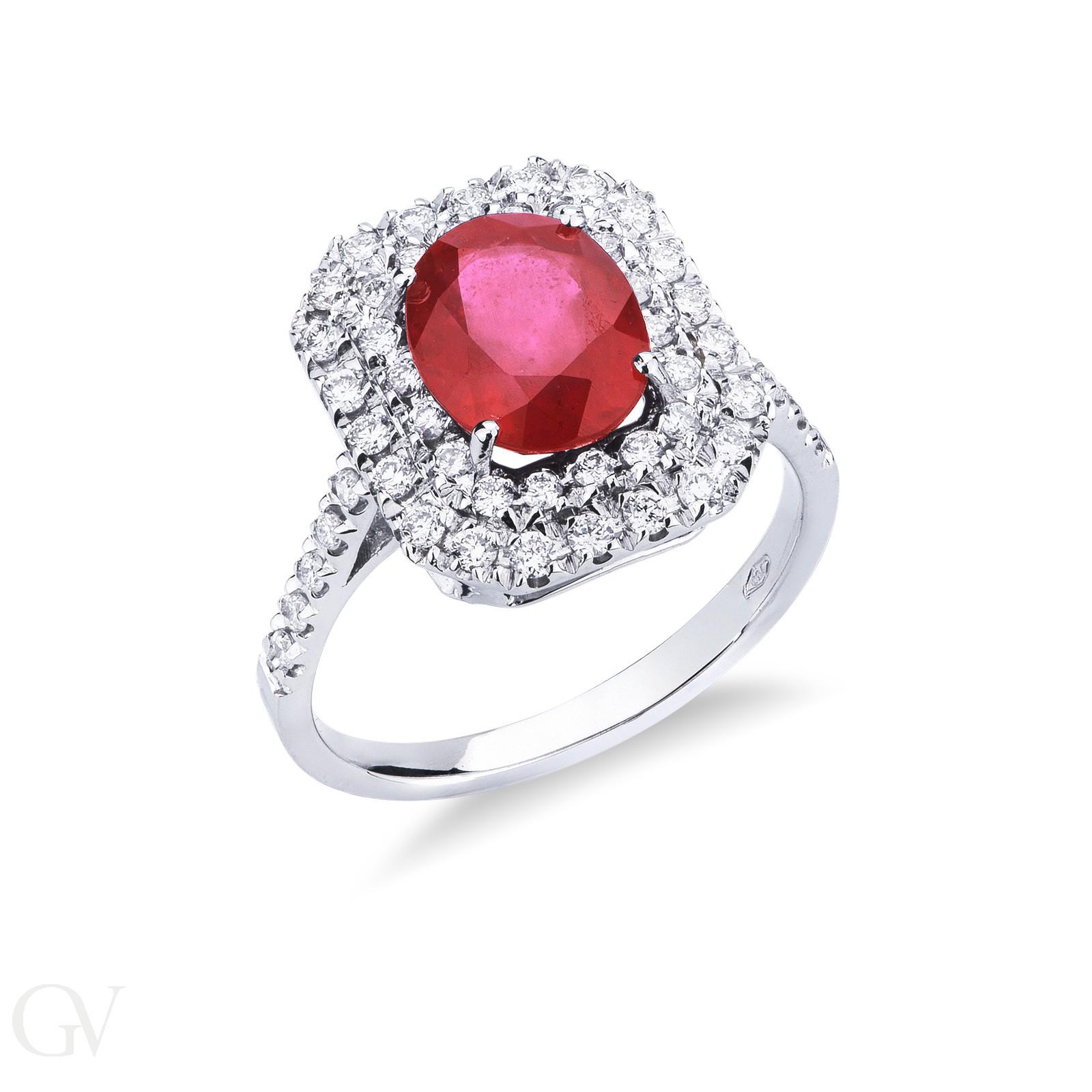 Anello Contorno in oro bianco 18k con Rubino e diamanti.