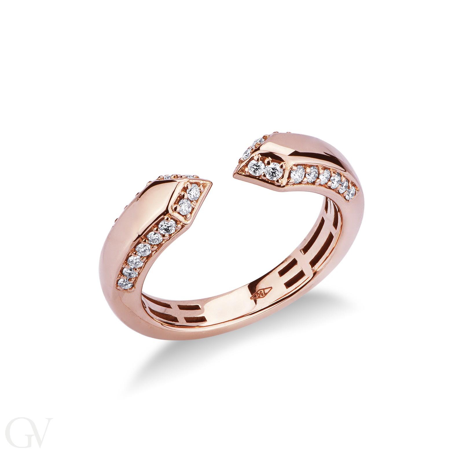 Anello aperto in oro rosa 18k con diamanti.
