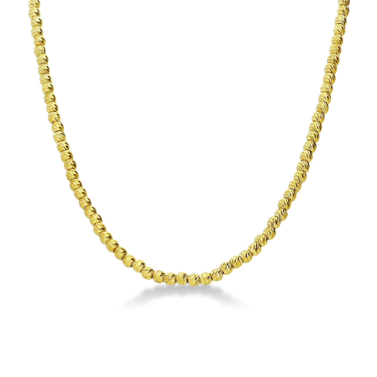 Collana girocollo palline diamantate in oro giallo 18kt